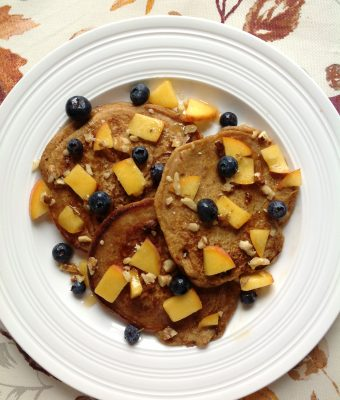 Pumpkin Peach Blueberry Pancakes