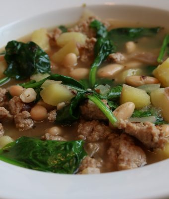 Turkey Sausage, Bean, Spinach & Potato Soup